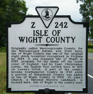 Isle of Wight county historical marker